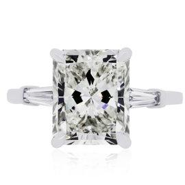14K White Gold 5.07ct Radiant Diamond Ring Size 7.75