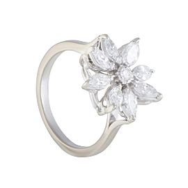Asprey 18K White Gold with 1.00ct Diamond Flower Ring Size 6.5