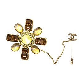 Chanel Gold & Brown Rhinestone Double Brooch & Pin