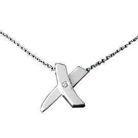 "Tiffany & Co. Paloma Picasso Sterling Silver & Diamond ""X"" Pendant Necklace"