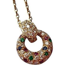 Van Cleef & Arpels 18K Yellow Gold 2.01 Ct Diamond, Ruby, Sapphire & Emerald Circle Pendant Necklace