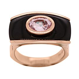 14k Rose Gold Onyx and Pink Stone Ring