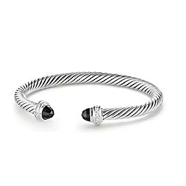 David Yurman Cable Classics Sterling Silver with Black Onyx and 0.07ctw. Diamonds Bracelet