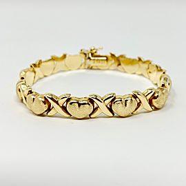 14k Yellow Gold Hugs and Kisses XO Link Bracelet