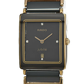 RADO Jubilee 160.0281.3N 4P Diamond GP/SS Black Dial Quartz Men's Watch