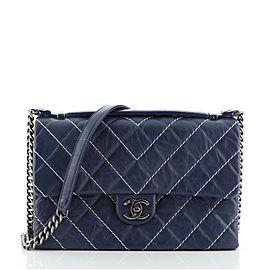 Chanel CC Top Handle Chain Flap Bag Chevron Stitched Calfskin Medium