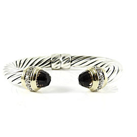David Yurman Sterling Silver 18K Yellow Gold .64tcw 10mm Smoky Quartz Diamond Bangle Bracelet