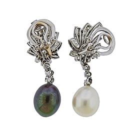 South Sea Pearl Diamond Platinum Night and Day Earrings