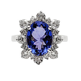 14K White Gold 4.68ct Tanzanite and 1.51ct Diamond Ring Size 7