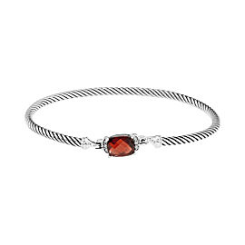 David Yurman 925 Sterling Silver Garnet Diamond Bracelet