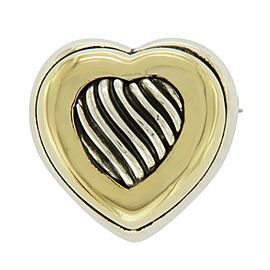 David Yurman 18K Yellow Gold & 925 Sterling Silver Heart Pin Brooch