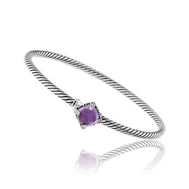 David Yurman Chatalaine Sterling Silver with Amethyst and 0.04ctw. Diamonds Bracelet