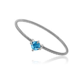 David Yurman Chatelaine Sterling Silver with Hampton Blue Topaz and 0.04ctw. Diamonds Bracelet