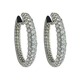 Platinum and Palladium 37.00ct Diamond Hoop Earrings