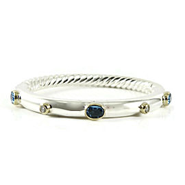 David Yurman Sterling Silver 18K Yellow Gold 5mm Bezel Set Blue Topaz Diamond Renaissance Bracelet