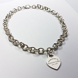 Tiffany & Co. Please Return To Sterling Silver Heart Tag Necklace