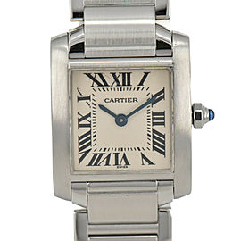 CARTIER Tank francaise SM 2384 Silver Dial SS Quartz Ladies Watch