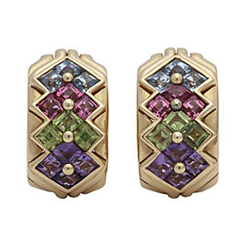 Bulgari 18K Yellow Gold Multi-Colored Stone Earrings