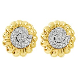 David Webb 18K Yellow Gold and Platinum 4.85 Ct Diamond Swirl Earrings