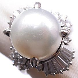 Platinum/Pearl diamond Ring NST-382
