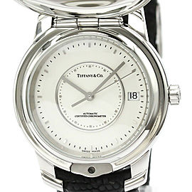 TIFFANY & co. Atlas Stainless Steel Leather Automatic Mens Watch Brand TIFFANY & co. Line Atlas Type Dress watch Material Stainless Steel/Leather Dial color Silver Movement Automatic Functions GMT Case Diameter 37mm / 1.46'' Wrist Size 14cm - 19cm