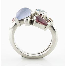 Cartier Platinum Diamond, Aquamarine, Tourmaline, Chalcedony Ring Size 6.75