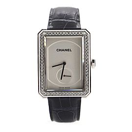 Chanel Boy·Friend Manual Watch White Gold and Alligator with Diamond Bezel 28