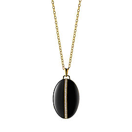 Monica Rich Kosann 18K Yellow Gold and Black Ceramic Diamond Stripe Oval Locket Necklace