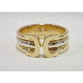 Cartier Double C Ring 18K Yellow, White and Rose Gold Size 4