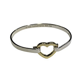 Tiffany & Co. Sterling Silver and 18K Yellow Gold Heart Bangle Bracelet