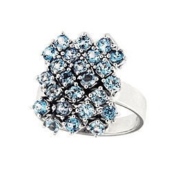 Salavetti 18K White Gold Blue Topaz Cocktail Ring Size 6.5