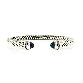 David Yurman Sterling Silver .20tcw 5mm Blue Topaz Diamond Princess Bracelet