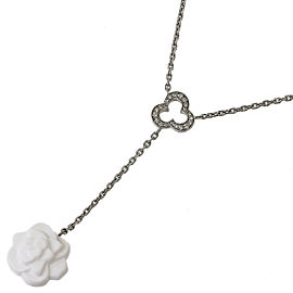 Chanel 18K White Gold Pave Diamonds Calcedony Camellia Necklace Pendant