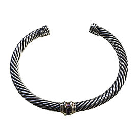 David Yurman Cable Sterling Silver 14K Yellow Gold Ruby Bracelet