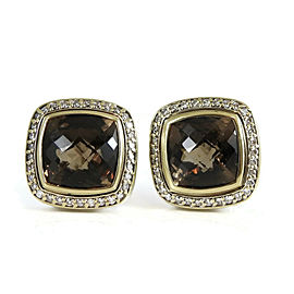 David Yurman Sterling Silver 18K Yellow Gold .49tcw 11mm Smoky Quartz Diamond Albion Earrings