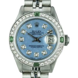 Rolex Datejust 6917 Stainless Steel with Blue Mother Of Pearl Diamond Dial Vintage 26mm Womens Watch