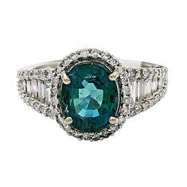 14K White Gold Emerald Diamond Ring Size: 7.5