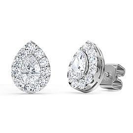 1.00 Ct Pear Shape Lab-Grown Diamond Halo Earrings set in 14K White Gold