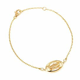 Cartier 18K Rose Gold Diamond C de Double Chain Bracelet CHAT-110
