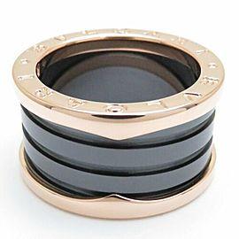 BULGARI 18K Pink Gold Black Ceramic B.zero1 Ring