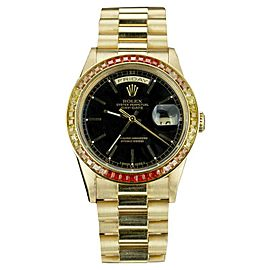 Rolex Day-Date 18038 18K Yellow Gold with Black Dial Vintage 36mm Mens Watch