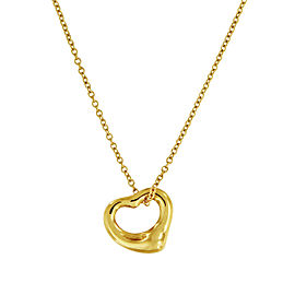Tiffany & Co. Yellow Gold Elsa Peretti Open Heart Pendant_11mm Necklace