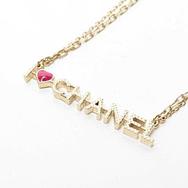 CHANEL I Love Chanel Logo Heart Necklace Gold Red