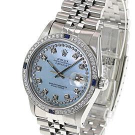 Rolex Men's Watch 36mm Datejust SSteel Ice Blue MOP Diamond Diamond Bezel