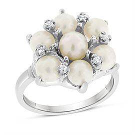 14k White Gold 0.05ct. Diamond & Freshwater Pearl Floral Ring Size 6
