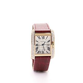 Cartier Tank Anglaise Rose Gold and Alligator with Diamonds Automatic Watch