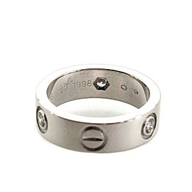 Cartier Love Band 3 Diamonds Ring 18K White Gold with Diamond