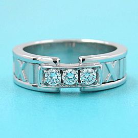 Tiffany & co. 18k white gold Diamond 3P Atlas Ring