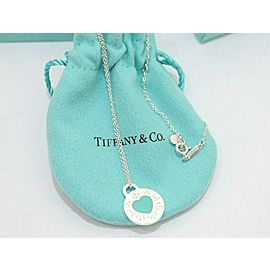 Tiffany & Co. Sterling Silver Blue Enamel Round Heart Pendant Necklace