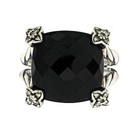 David Yurman Sterling Silver Diamond Onyx Ring Size 7